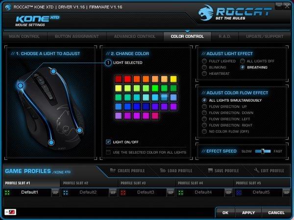 ▲滑鼠上有兩條 LED 燈,可自改顏色。